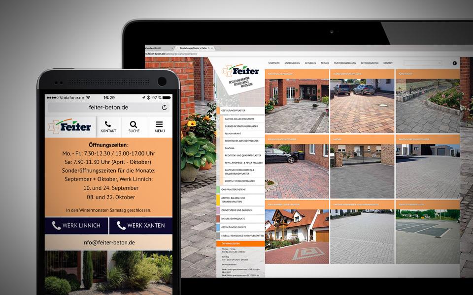 Webseiten und Webentwicklung Feiter Betonsteinwerke GmbH