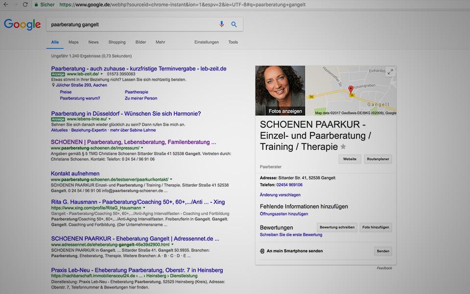 Suchmaschinenoptimierung Paarberatung Christiane Schoenen