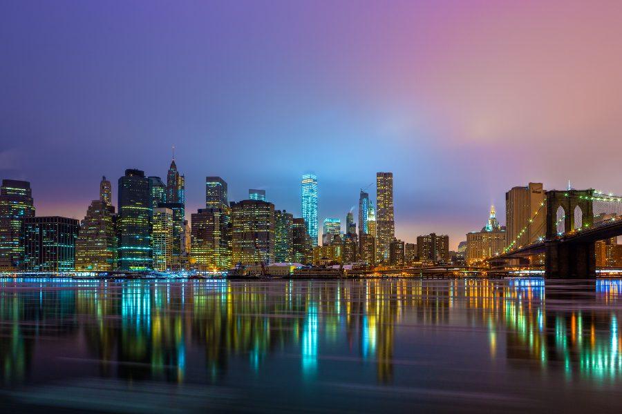 Die New Yorker Skyline bei Nacht. Photografiert von Markus Schulte