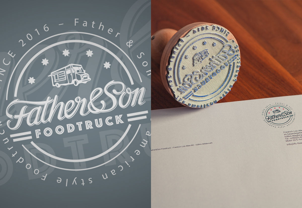 Stempel mit dem Corporate Design F&S Foodtruck aus Wildenrath