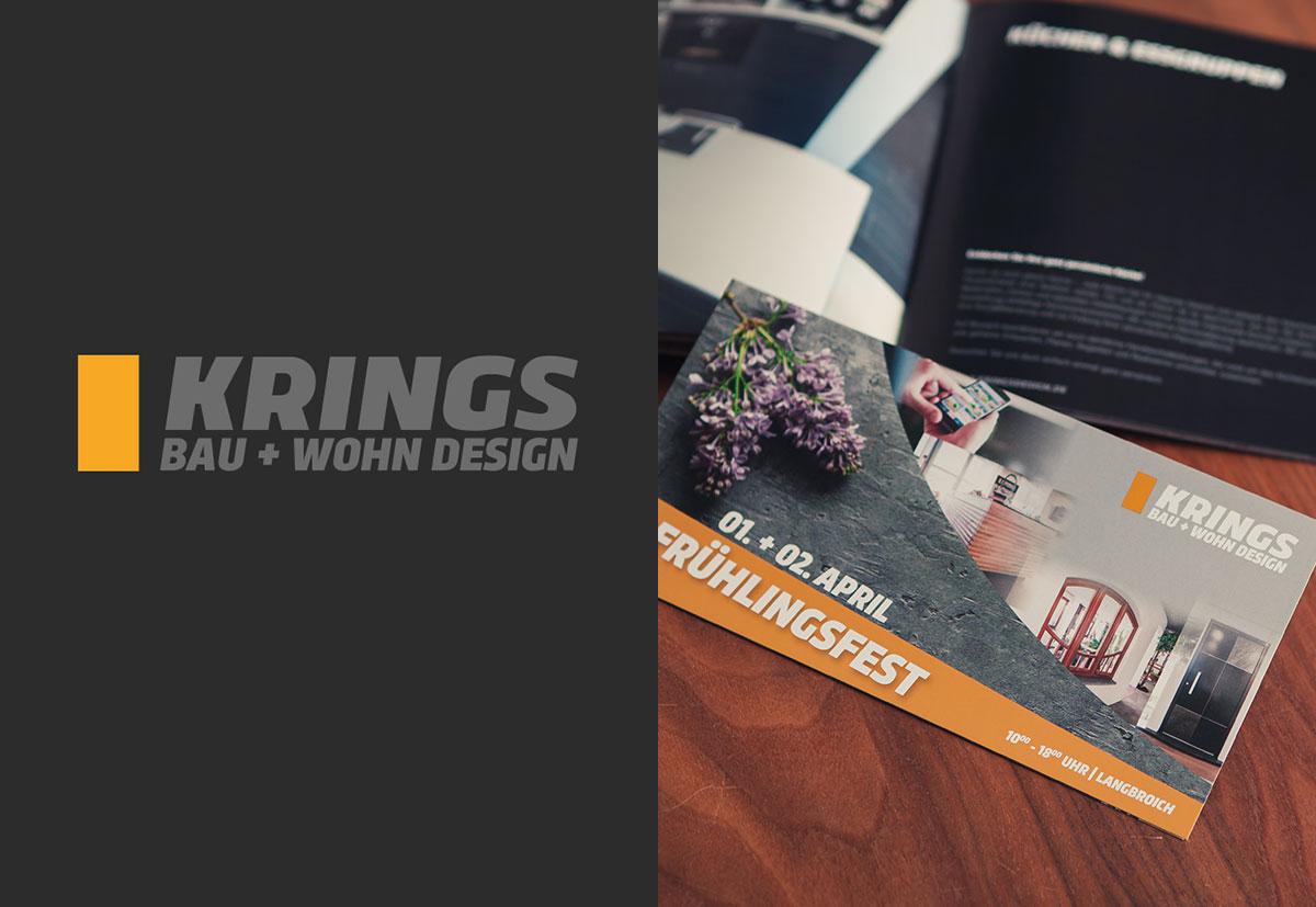 Eine Werbebroschüre von KRINGS Wohn+Bau Design
