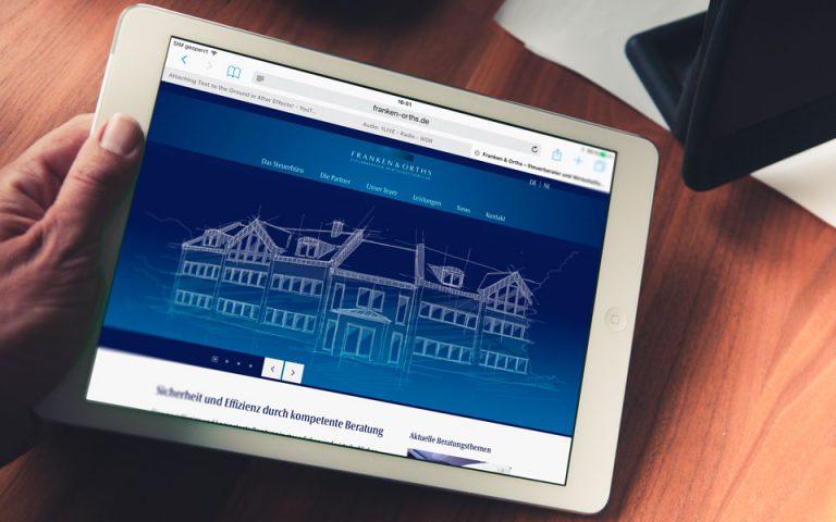 Webseiten und Webentwicklung Franken & Orths Steuerberater Wirtschaftsprüfer