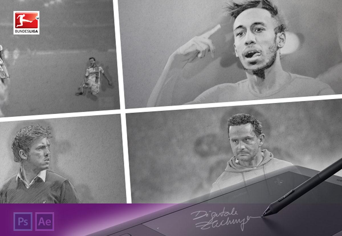Standbild einer Animationsgrafik fuer die Deutsche Fussballliga