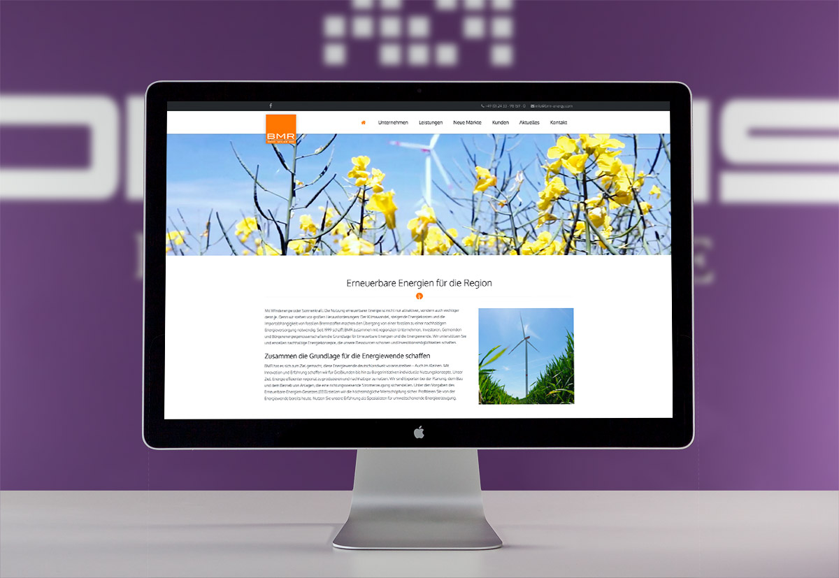 Die Startseite der BMR Energy solutions GmbH aus Hueckelhoven Kreis Heinsberg