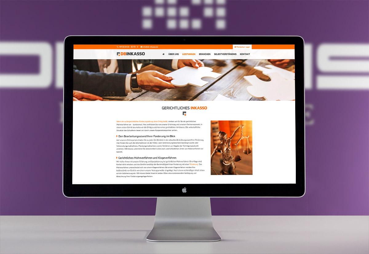 Die neue Webentwicklung für das Inkassounternehmen DB Inkasso