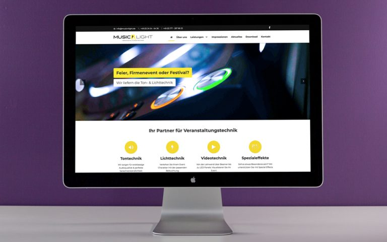 Website Entwicklung Music'n'Light